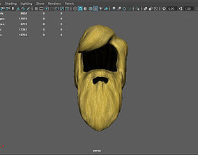 Man long hair and long facial hair lowpoly 3D asset