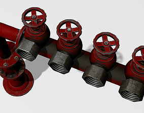 3D model game-ready PBR Fire Hydrant footpath
