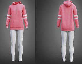 3D model Cute outfit - pink oversized hoodie and leggings