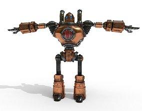 Robot steampunk PBR low poly 3D asset
