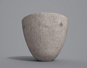 3D asset Tall White Wood Bowl