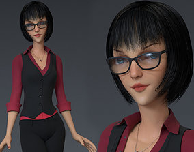 3D Business Woman Cartoon