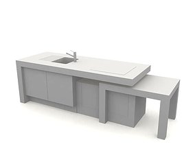 3D model White Countertop With Sink