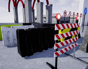 Road Blocker Pack Game Ready 3D asset