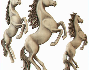 head 3D printable model bas-relief of a horse