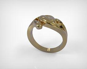 3D print model Golden Jewelry Ring Wavy Lines Design