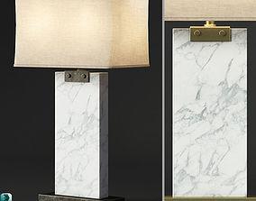 RH RECTANGULAR COLUMN MARBLE TABLE LAMP 3D