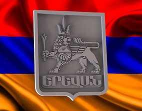 coat of arms Yerevan city 3D print model