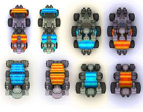 Collection Cars with a Gun 3D asset