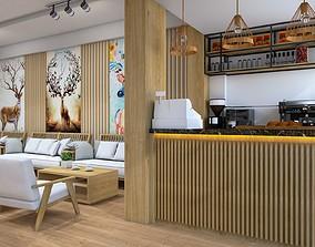 Cafe design 3D model animated