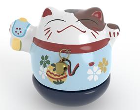 Maneki Neko Cat Ornament - high poly and low 3D asset 1