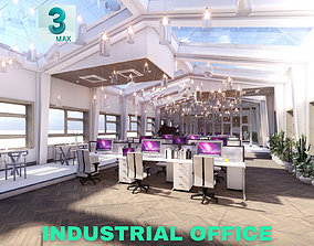 Industrial Office on Attic with Skylights Scene - 3DS