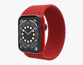 3D model Apple Watch Series 6 braided solo loop red
