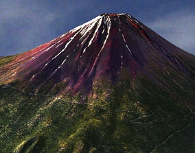 Mount Fuji - Low and High Poly 3D model