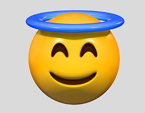 Emoji Smiling Face with Halo 3D