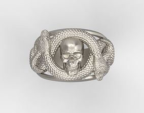 3D printable model Ring with skull and snakes biker