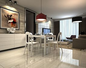 living room with kitchen 3D asset game-ready