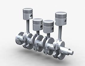 3D 4 cylinder engine