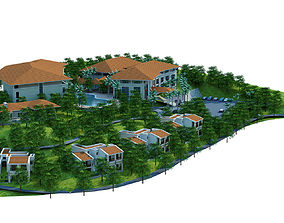 3d model moutain resort hotel