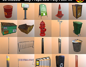 City Props Low Poly Pack 4K 3D asset