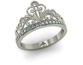 fashion ring crown gem 3D printable model