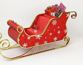 Santa Claus Sled - Christmas Sled - Chritmas Gift 3D model
