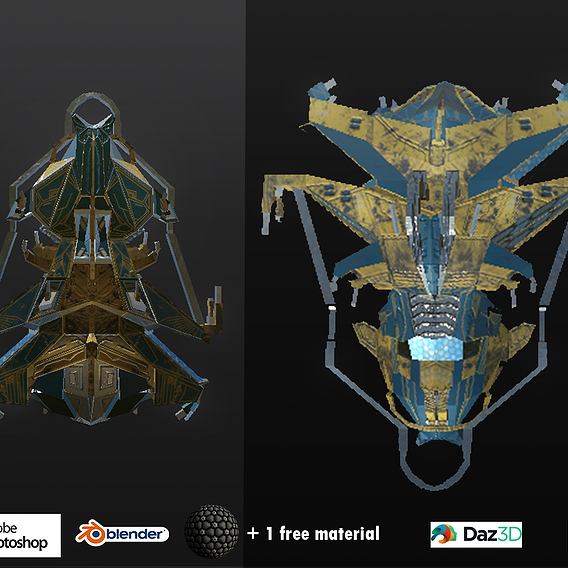 Spaceship ev2 PRO Low-poly editable