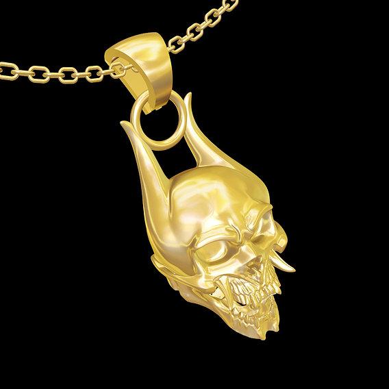 Oni Skull pendant jewelry gold necklace medallion 3D print model