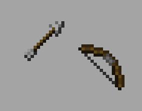 Minecraft Bow and Arrow 3D asset