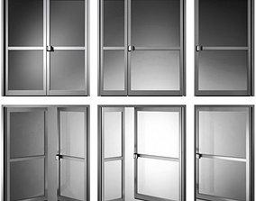 Metal fire doors 3D glass