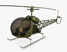Bell 47 Helicopter 3D asset