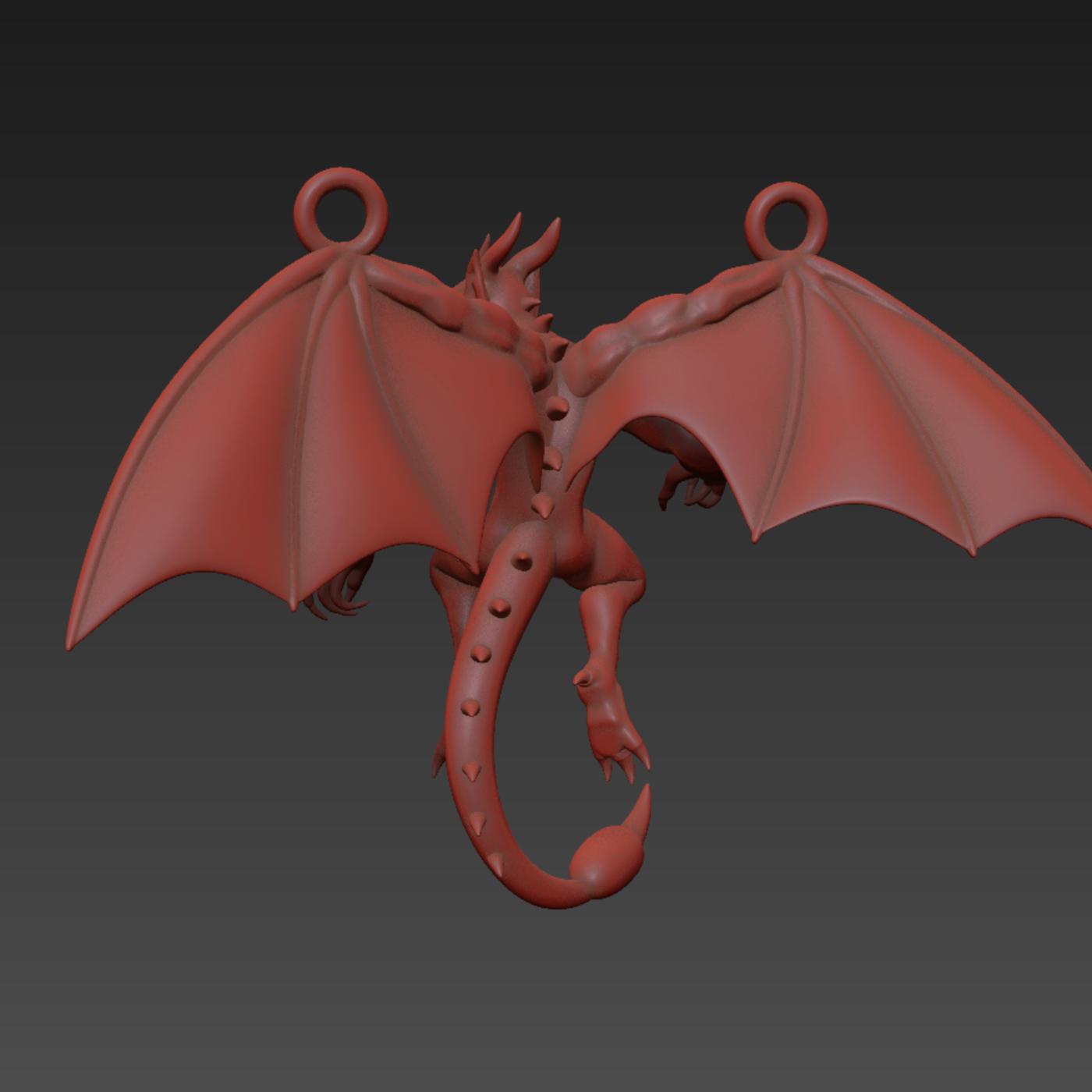 Humanoid Dragon pendant jewelry gold necklace medallion 3D print model