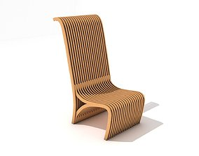 3D model Light Wooden Slatted Chair