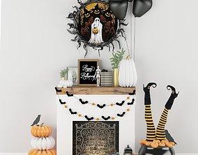 Halloween decor set 3D model realtime horror
