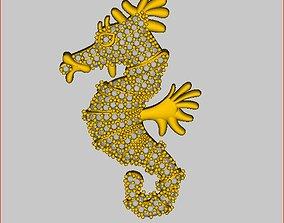 Seahorse - Pendant 3D print model necklace