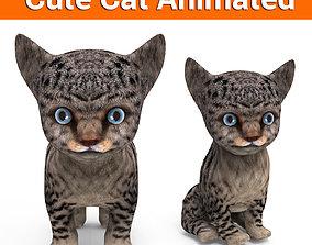 3D Cartoon Cat Animated Model animated