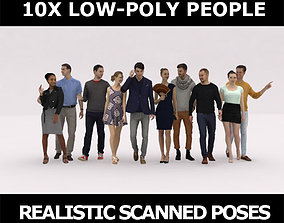 10X LOW POLY CASUAL PEOPLE VOL01 CROWD 3D asset