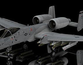 3D model rigged A10 Warthog Tankbuster USAF Aircraft