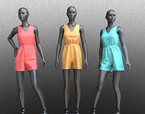 3D model jumpsuit shorts on posed female mannequins