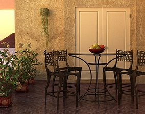 3D model Outdoor Table And Chairs Of Black Metal