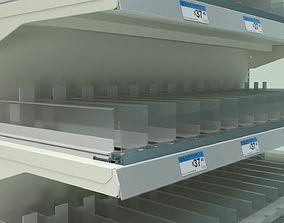 Supermarket Gondola with pusher system 3D model