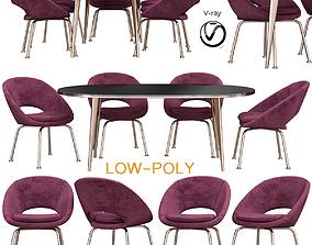 3D asset Orb Velvet Dining Chair Westelm