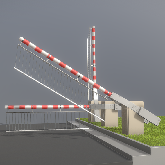 Railroad Barrier 3m (High-Poly) Protective Grid (Blender-2.91)