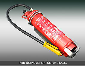 Fire extinguisher with vehicle mounting 3D model