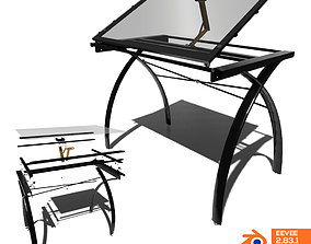 draw Drafting Glass Table 3D model