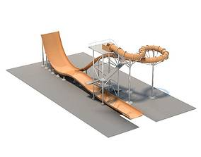 Modern Orange Water Slide 3D model