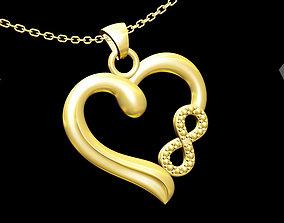 Infinite Heart Pendant jewelry Gold 3D print model