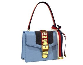3D model game-ready Gucci Sylvie Bag Blue Leather