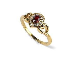Ruby diamond engagement-ring 3D printable model