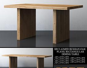 RECLAIMED RUSSIAN OAK PLANK RECTANGULAR DINING 3D model